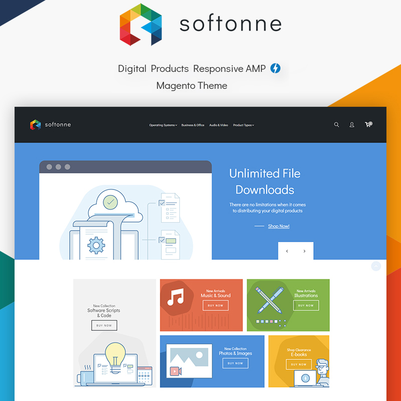 Magento Theme namens Softonne - Digital Products