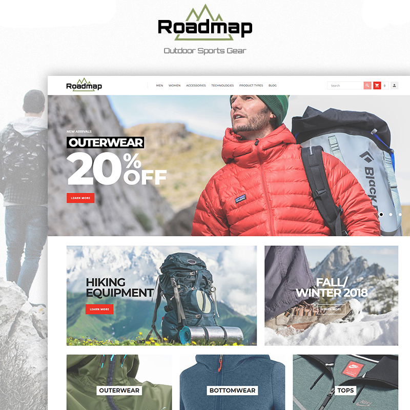 Magento Theme namens Roadmap - Clean eCommerce Outdoor Sports Gear