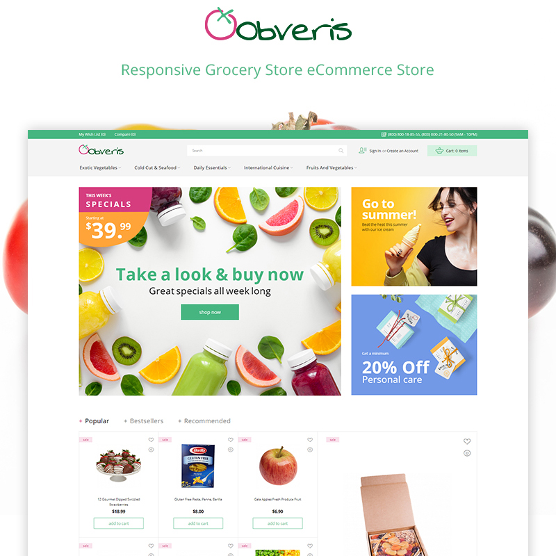 Magento Theme namens Obveris - Clean Grocery eCommerce Store